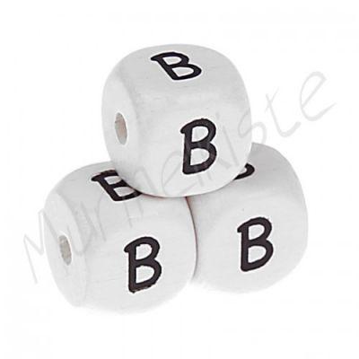 Buchstabenperlen weiß 10x10mm geprägt 'B' 1234 auf Lager