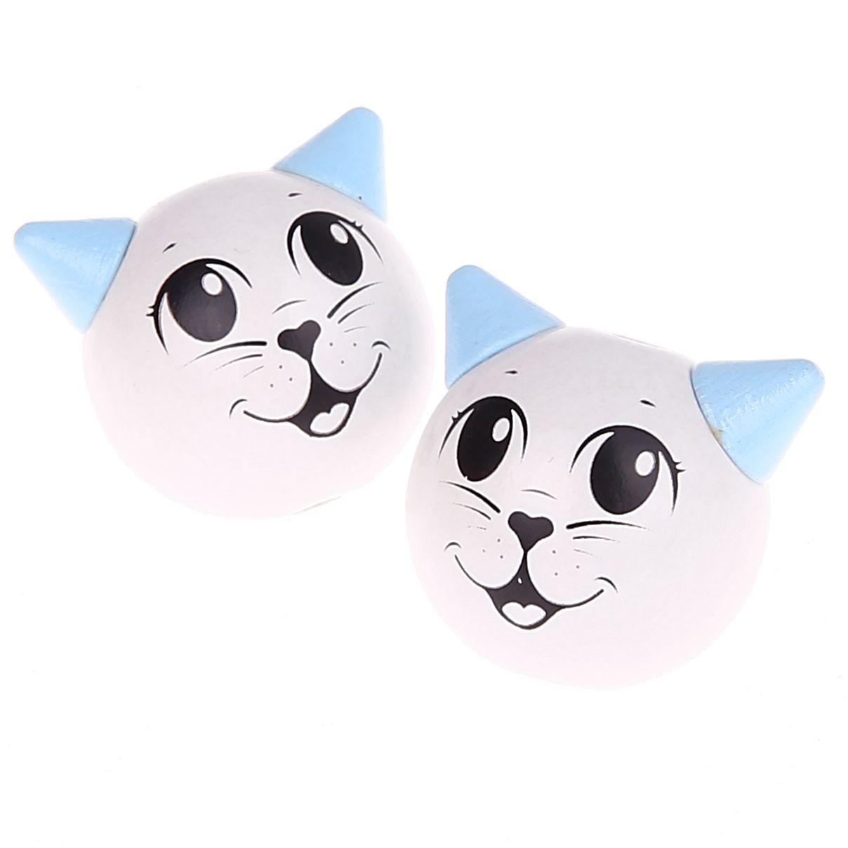 Motivperle 3D Katze 'weiß-babyblau' 520 auf Lager