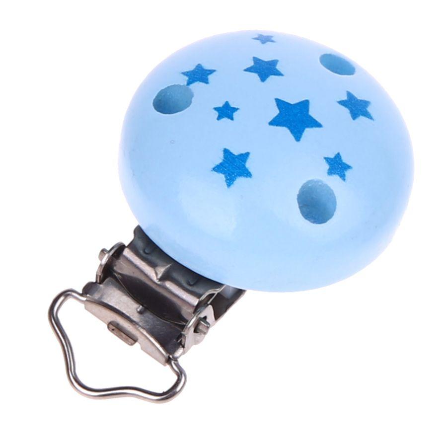 Schnullerclip Motiv Sternchen 'babyblau' 65 auf Lager