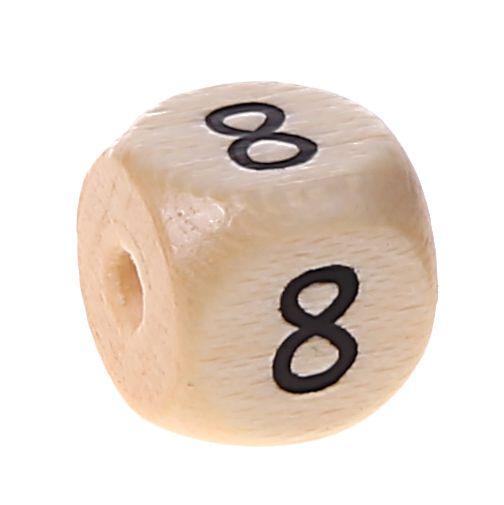 Zahlenperlen 10 mm geprägt '8' 428 auf Lager