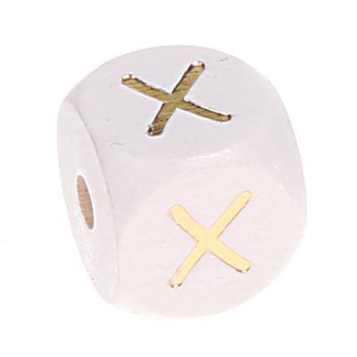 Buchstabenperlen weiss-gold 10mm x 10mm 'X' 15 auf Lager
