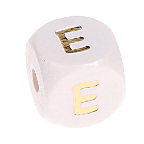 Buchstabenperlen weiss-gold 10mm x 10mm 'E' 1821 auf Lager
