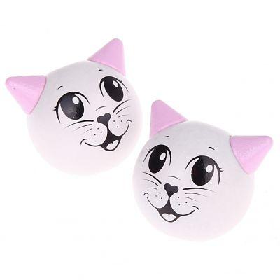 Motivperle 3D Katze 'weiß-rosa' 531 auf Lager