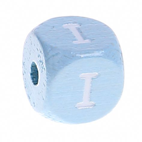 Buchstabenperlen babyblau 10x10mm 'I' 1710 auf Lager
