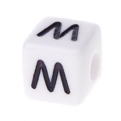 Buchstabenwürfel Kunststoff 10x10mm weiß/schwarz • 10 Stk 'M' 355 auf Lager