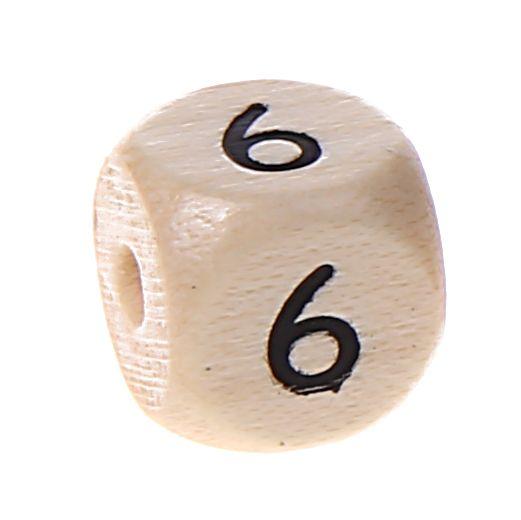 Zahlenperlen 10 mm geprägt '6' 792 auf Lager