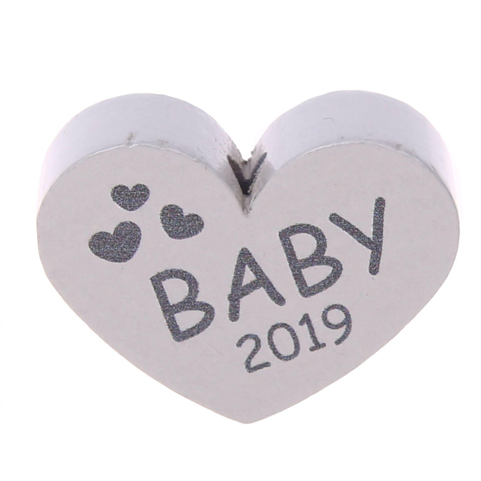 Motivperle Herz Baby 2019 'hellgrau' 30 auf Lager