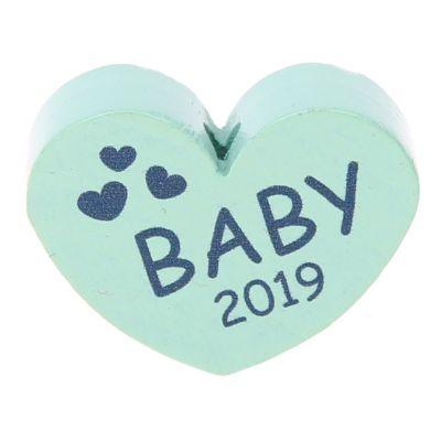 Motivperle Herz Baby 2019 'mint' 3 auf Lager