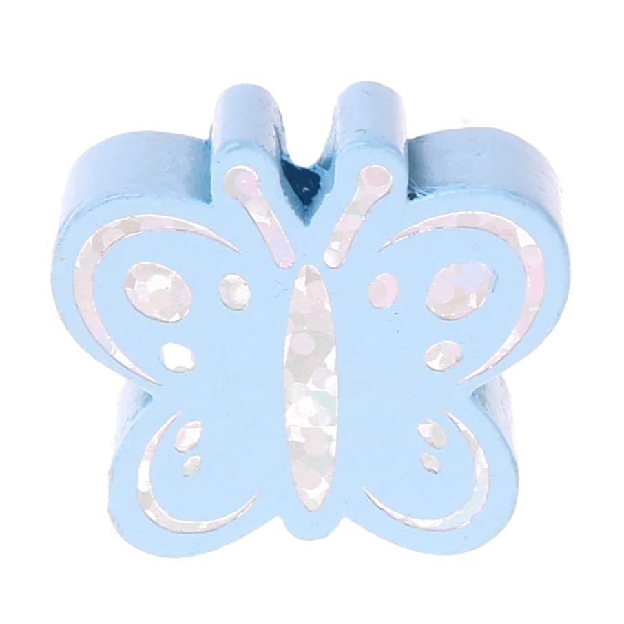 Motivperle Schmetterling Glitzer 'babyblau' 1155 auf Lager