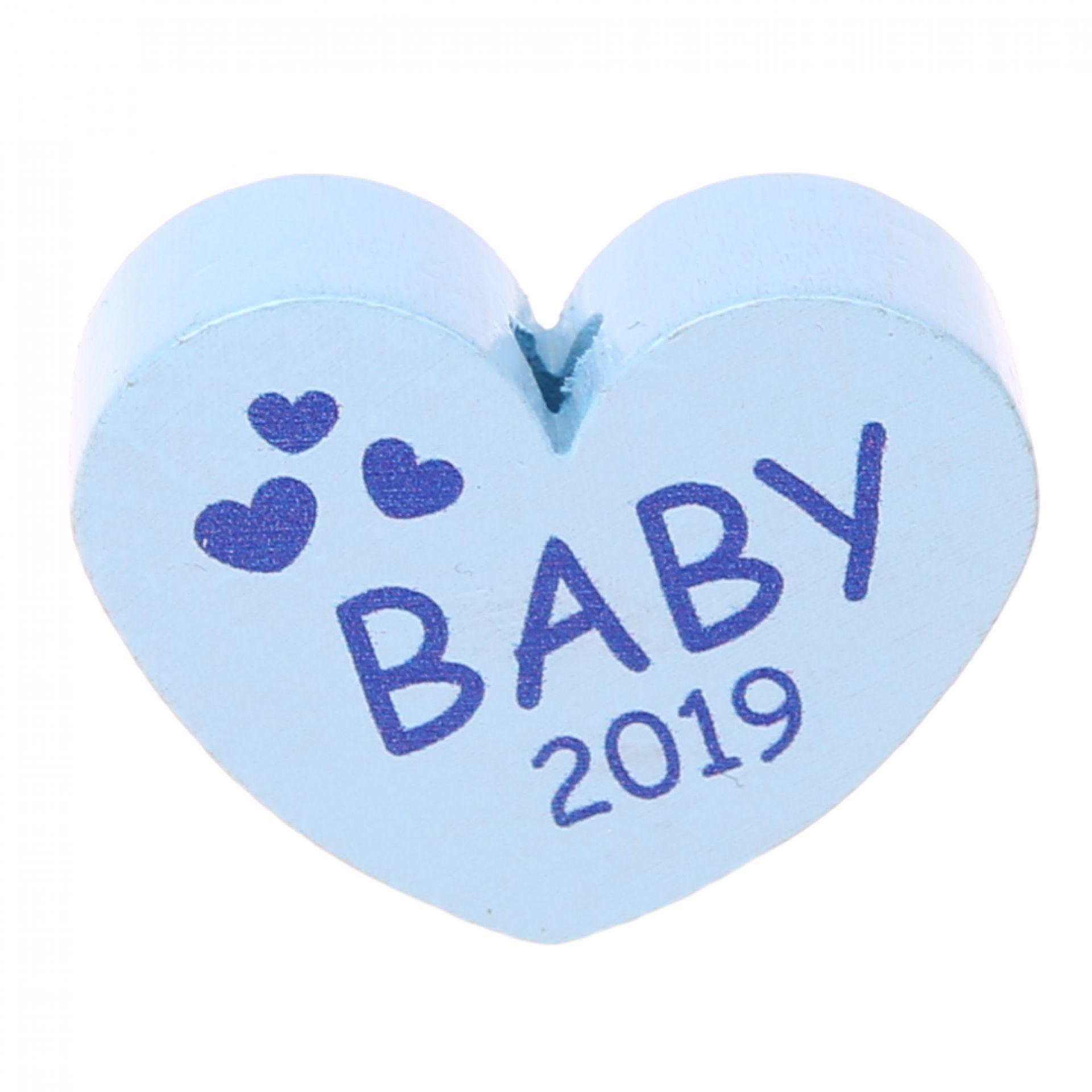 Motivperle Herz Baby 2019 'babyblau' 63 auf Lager
