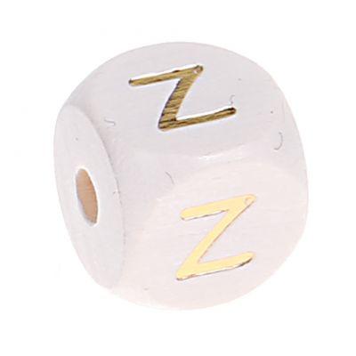 Buchstabenperlen weiss-gold 10mm x 10mm 'Z' 0 auf Lager