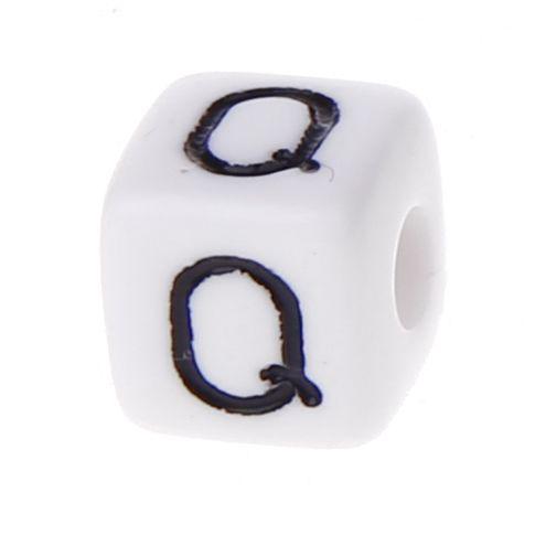 Buchstabenwürfel Kunststoff 10x10mm weiß/schwarz • 10 Stk 'Q' 40 auf Lager
