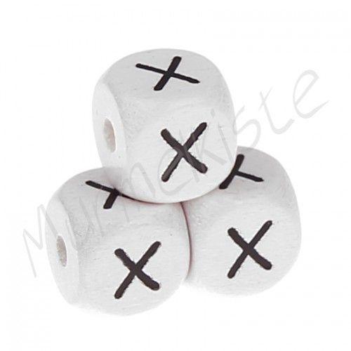 Buchstabenperlen weiß 10x10mm geprägt 'X' 1079 auf Lager