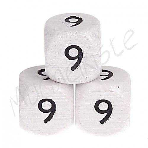 Buchstabenperlen weiß 10x10mm geprägt '9' 438 auf Lager