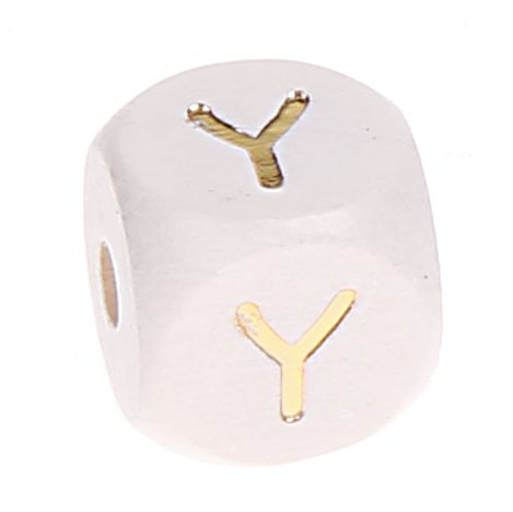 Buchstabenperlen weiss-gold 10mm x 10mm 'Y' 0 auf Lager