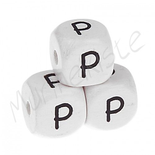 Buchstabenperlen weiß 10x10mm geprägt 'P' 1348 auf Lager