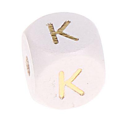 Buchstabenperlen weiss-gold 10mm x 10mm 'K' 0 auf Lager