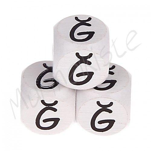 Buchstabenperlen weiß 10x10mm geprägt 'Ğ' 100 auf Lager
