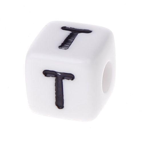 Buchstabenwürfel Kunststoff 10x10mm weiß/schwarz • 10 Stk 'T' 415 auf Lager