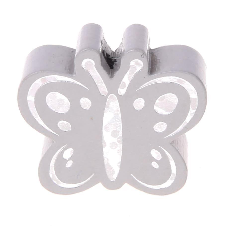 Motivperle Schmetterling Glitzer 'hellgrau' 256 auf Lager