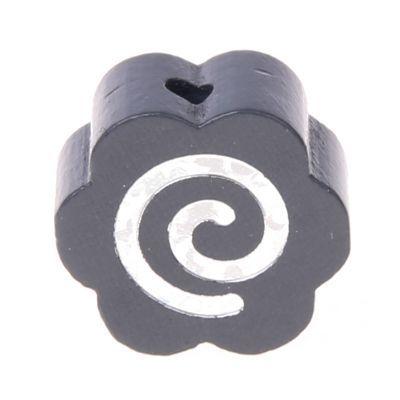 Motivperle Glitzerblümchen Spirale 'grau' 628 auf Lager