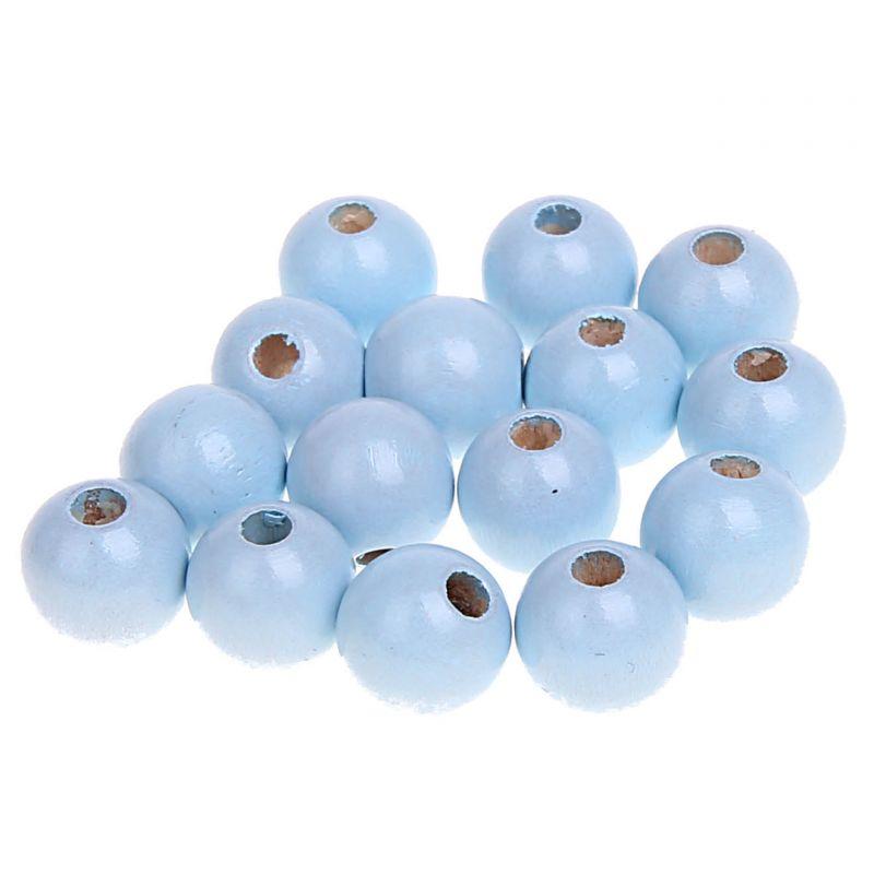Holzperlen 10mm • 50 Stück 'babyblau' 612 auf Lager