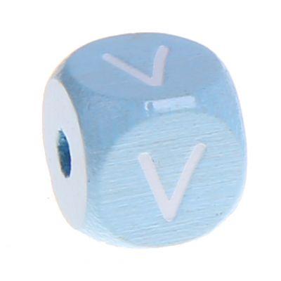 Buchstabenperlen babyblau 10x10mm 'V' 671 auf Lager