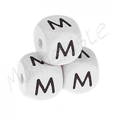Buchstabenperlen weiß 10x10mm geprägt 'M' 1519 auf Lager