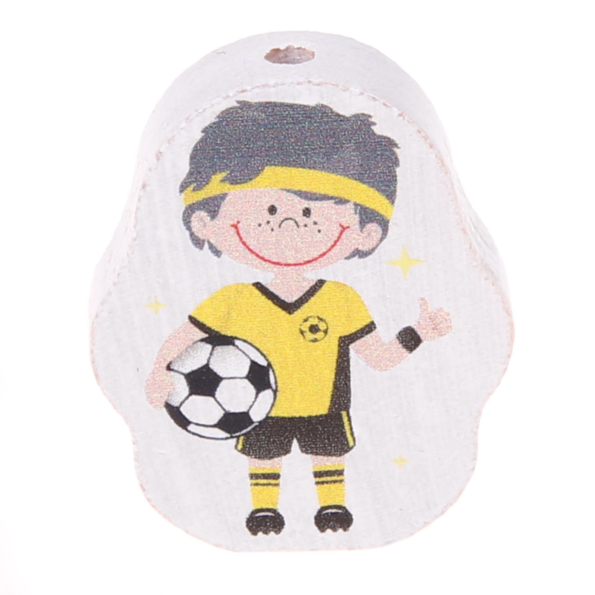 Motivperle Fußballer 'gelb' 28 auf Lager