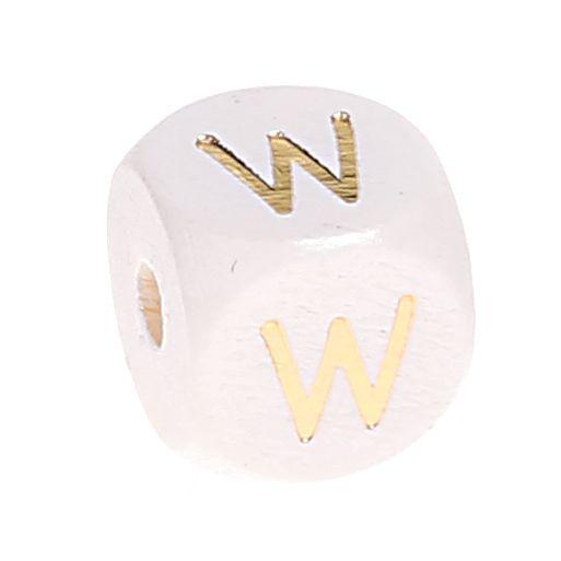 Buchstabenperlen weiss-gold 10mm x 10mm 'W' 0 auf Lager