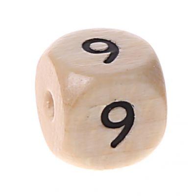 Zahlenperlen 10 mm geprägt '9' 306 auf Lager