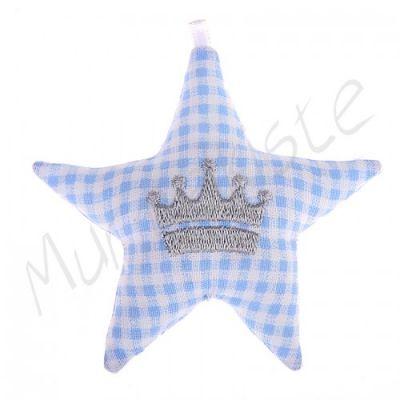 Stoffstern mit Motiv 'Krone-babyblau' 11 auf Lager