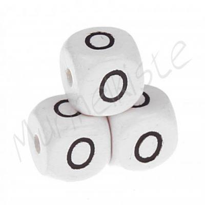 Buchstabenperlen weiß 10x10mm geprägt 'O' 950 auf Lager