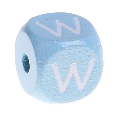 Buchstabenperlen babyblau 10x10mm 'W' 813 auf Lager