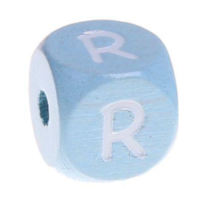 Buchstabenperlen babyblau 10x10mm 'R' 696 auf Lager