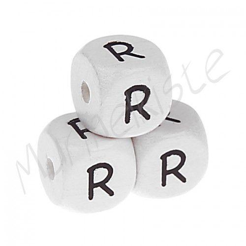 Buchstabenperlen weiß 10x10mm geprägt 'R' 535 auf Lager