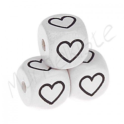Buchstabenperlen weiß 10x10mm geprägt '♥' 532 auf Lager