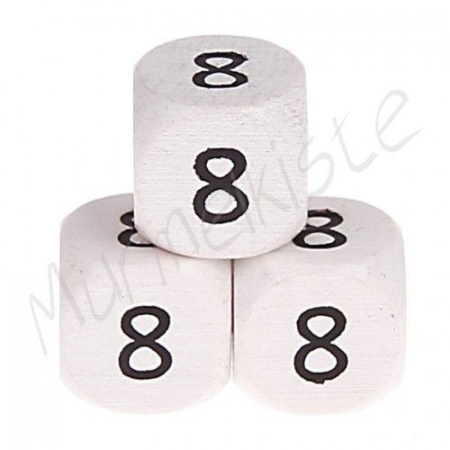 Buchstabenperlen weiß 10x10mm geprägt '8' 445 auf Lager