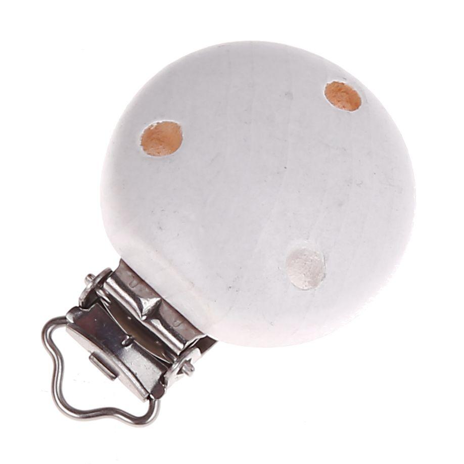 Holzclip / Schnullerclip Ø35mm 'weiß' 8689 auf Lager