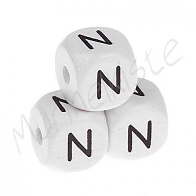 Buchstabenperlen weiß 10x10mm geprägt 'N' 1885 auf Lager