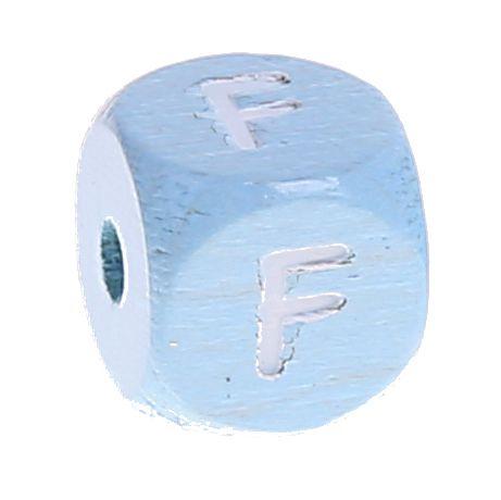 Buchstabenperlen babyblau 10x10mm 'F' 967 auf Lager