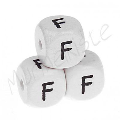 Buchstabenperlen weiß 10x10mm geprägt 'F' 572 auf Lager