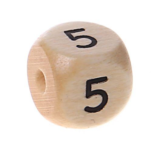 Zahlenperlen 10 mm geprägt '5' 495 auf Lager