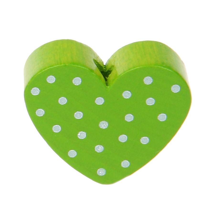 Motivperle Herz gepunktet 'gelbgrün' 3987 auf Lager