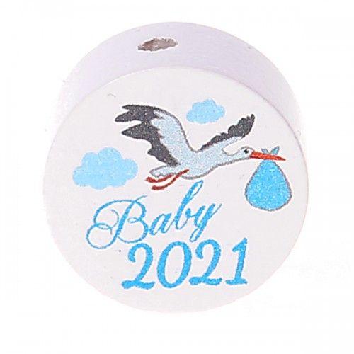 Motivperle / Scheibe Baby 2021  'hellblau' 27 auf Lager