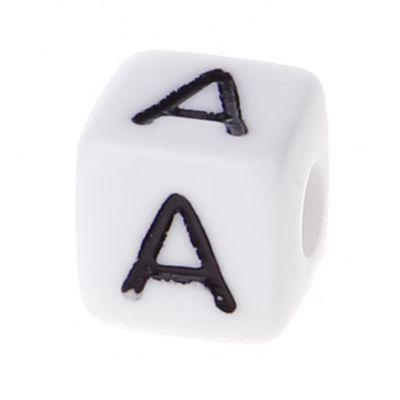 Buchstabenwürfel Kunststoff 10x10mm weiß/schwarz • 10 Stk 'A' 1214 auf Lager