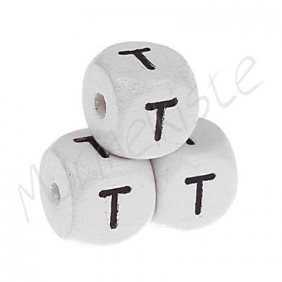 Buchstabenperlen weiß 10x10mm geprägt 'T' 420 auf Lager