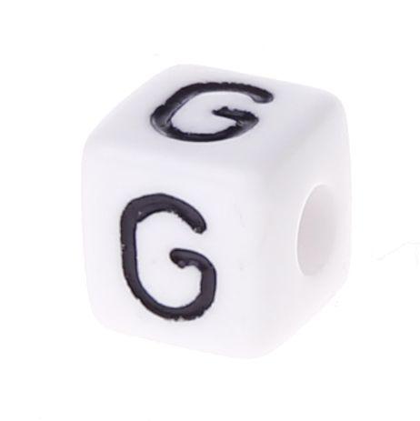 Buchstabenwürfel Kunststoff 10x10mm weiß/schwarz • 10 Stk 'G' 150 auf Lager