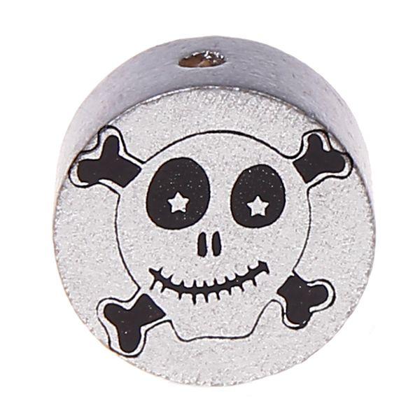Motivperle Scheibe Happy Skull 'silber' 978 auf Lager