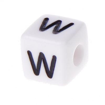 Buchstabenwürfel Kunststoff 10x10mm weiß/schwarz • 10 Stk 'W' 45 auf Lager
